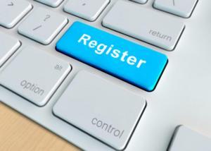 Closeup of register key in a modern keyboard
